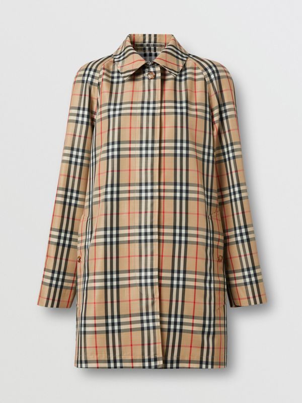 Vintage Check Recycled Polyester Car Coat in Archive Beige - Women | Burberry United States - cell image 3