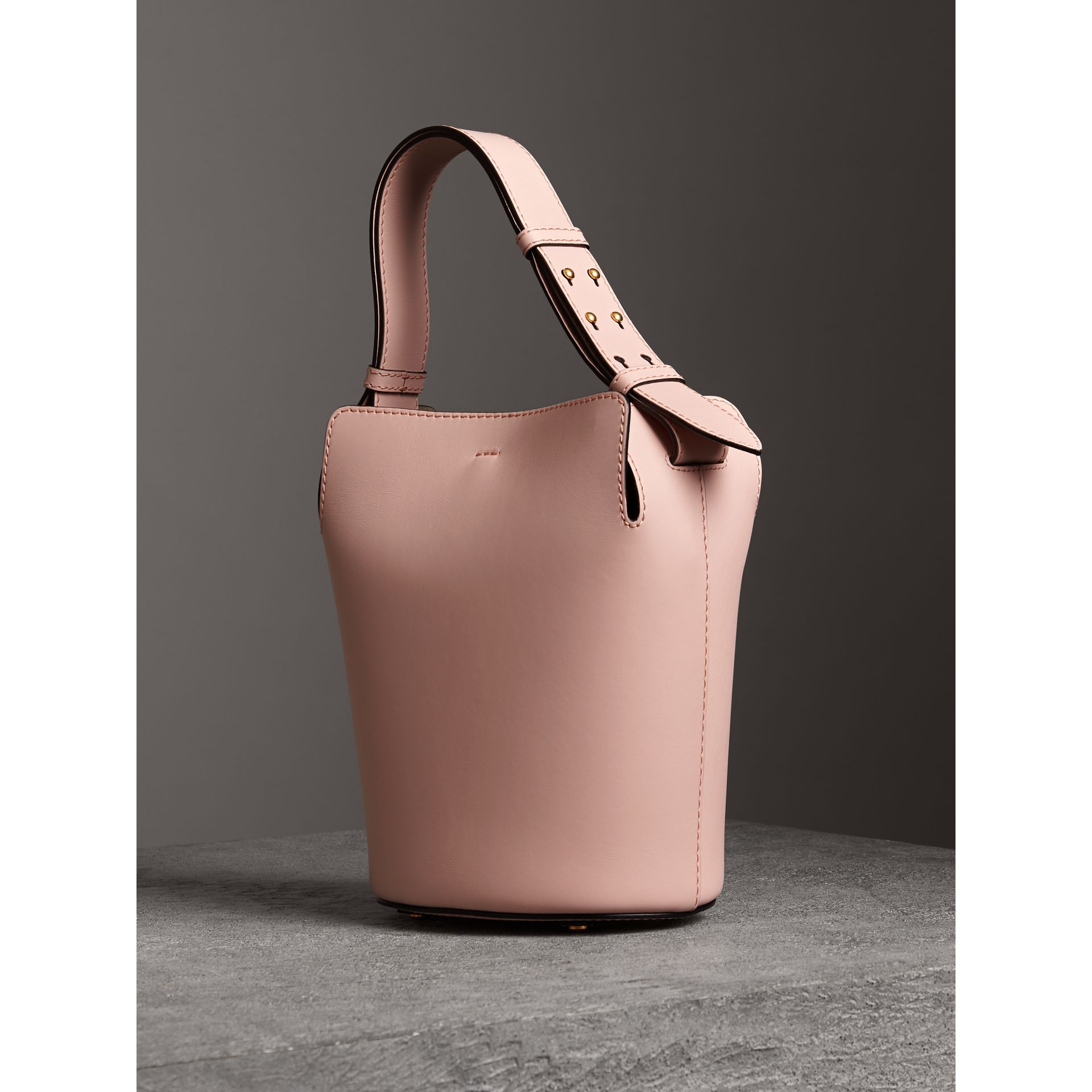 The Small Leather Bucket Bag in Pale Ash Rose - Women | Burberry United States - gallery image 3
