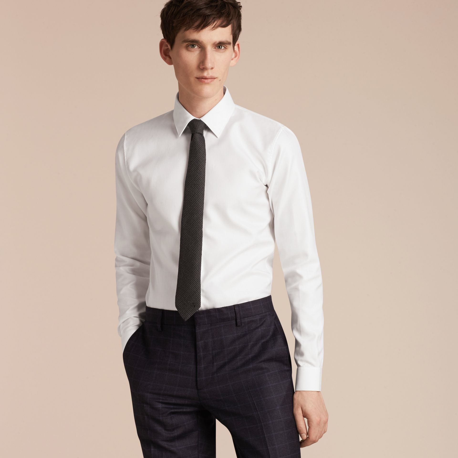 White Slim Fit Herringbone Cotton Shirt - gallery image 6