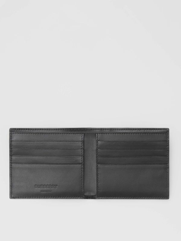 Cow Print Leather International Bifold Wallet in Black/white - Men | Burberry Australia - cell image 2