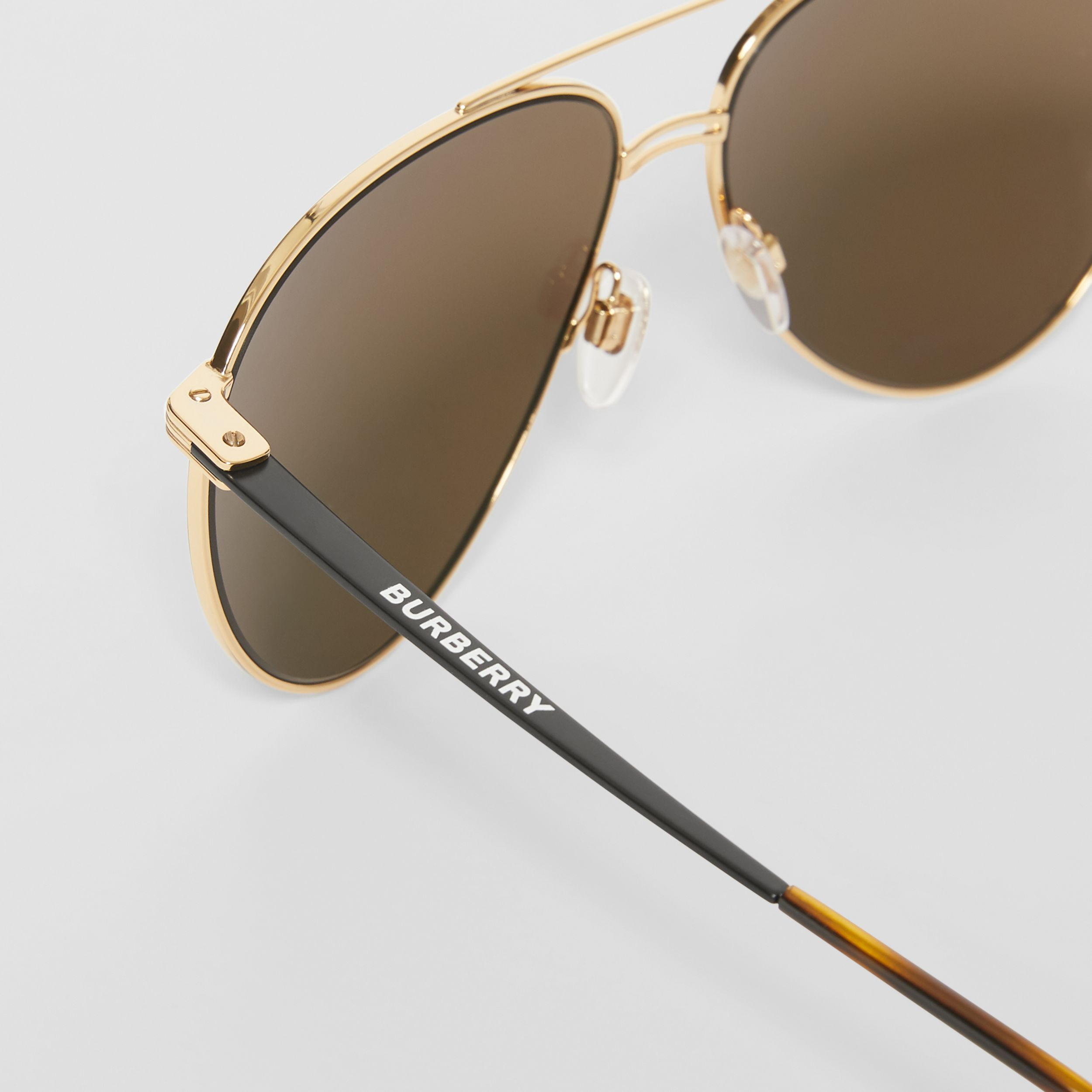 Top Bar Detail Pilot Sunglasses in Gold - Men | Burberry - 2