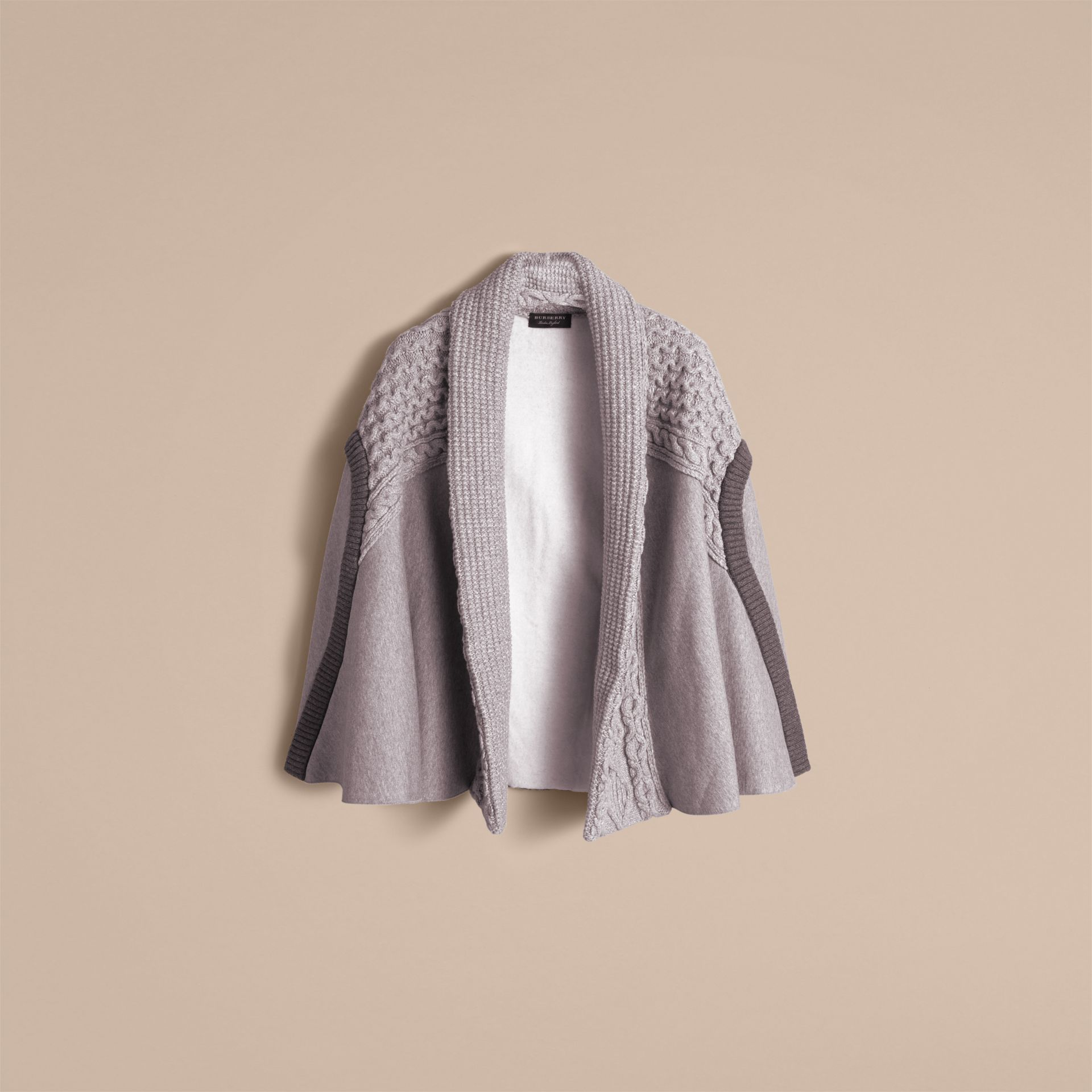 Cable Knit Cotton Blend Panelled Poncho in Grey Melange - Women | Burberry Singapore - gallery image 4