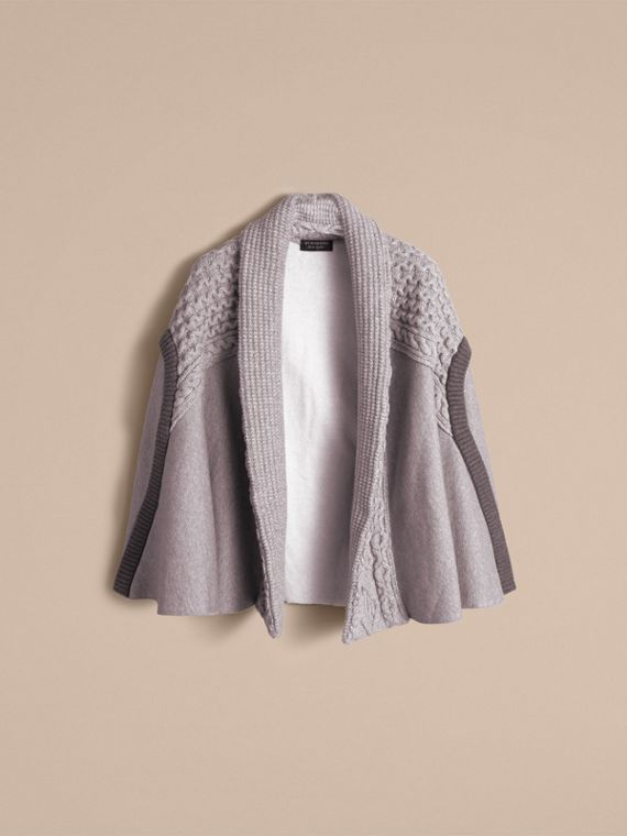 Cable Knit Cotton Blend Panelled Poncho in Grey Melange - Women | Burberry Singapore - cell image 3