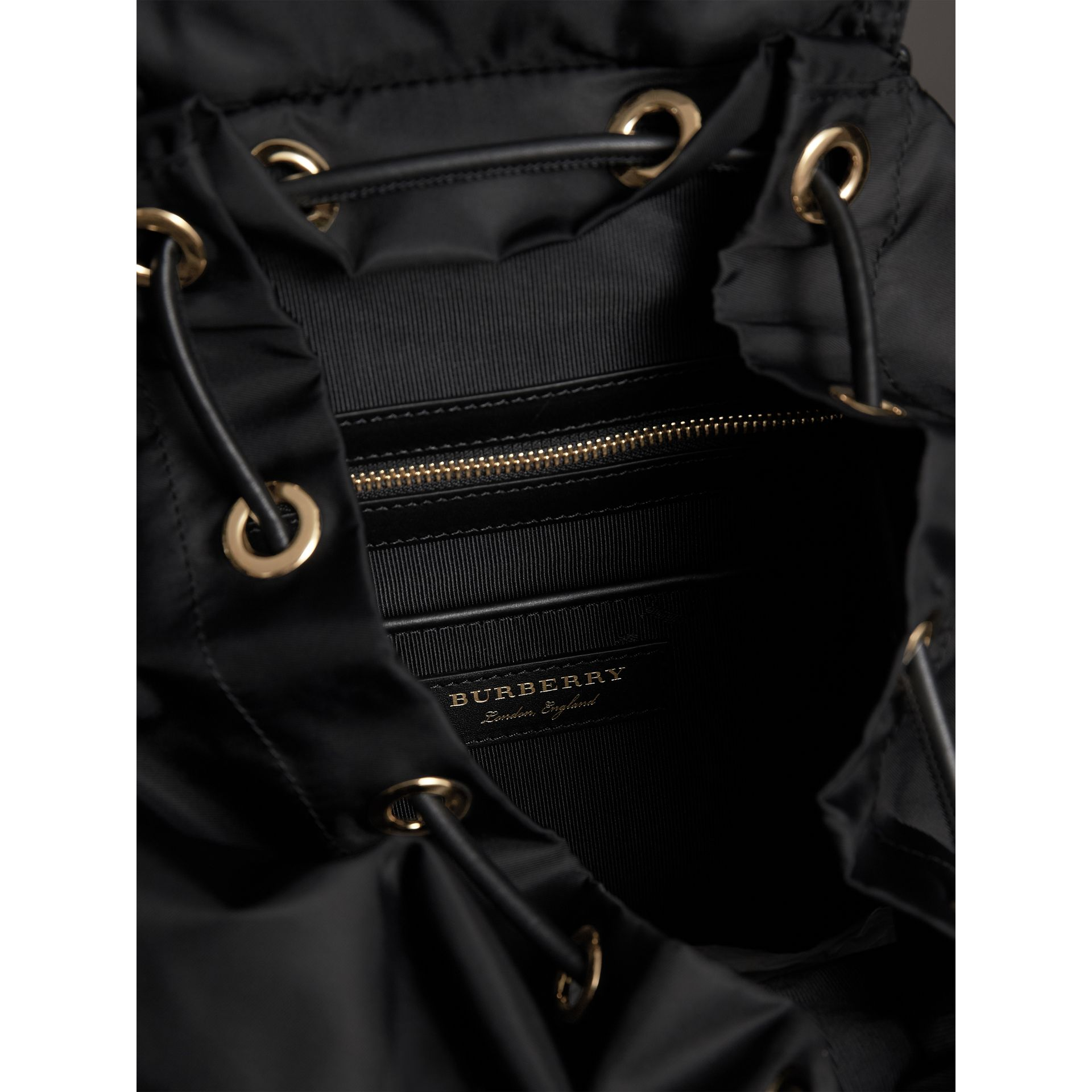 The Large Rucksack in Technical Nylon and Snakeskin in Black/bright Green - Women | Burberry - gallery image 5