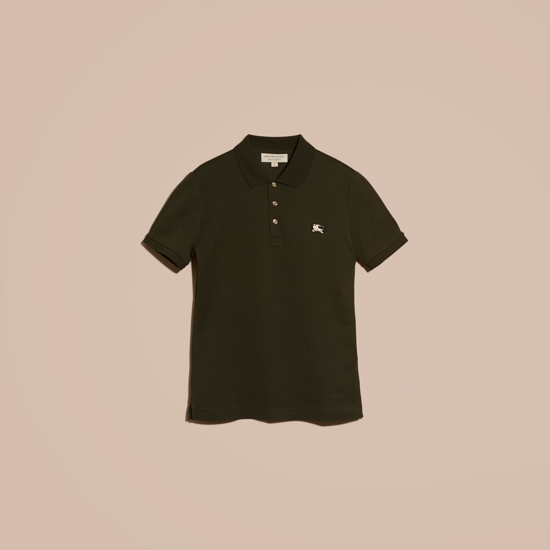 Oregano Fitted Mercerised Cotton-Piqué Polo Shirt Oregano - gallery image 4