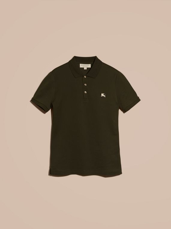 Oregano Fitted Mercerised Cotton-Piqué Polo Shirt Oregano - cell image 3
