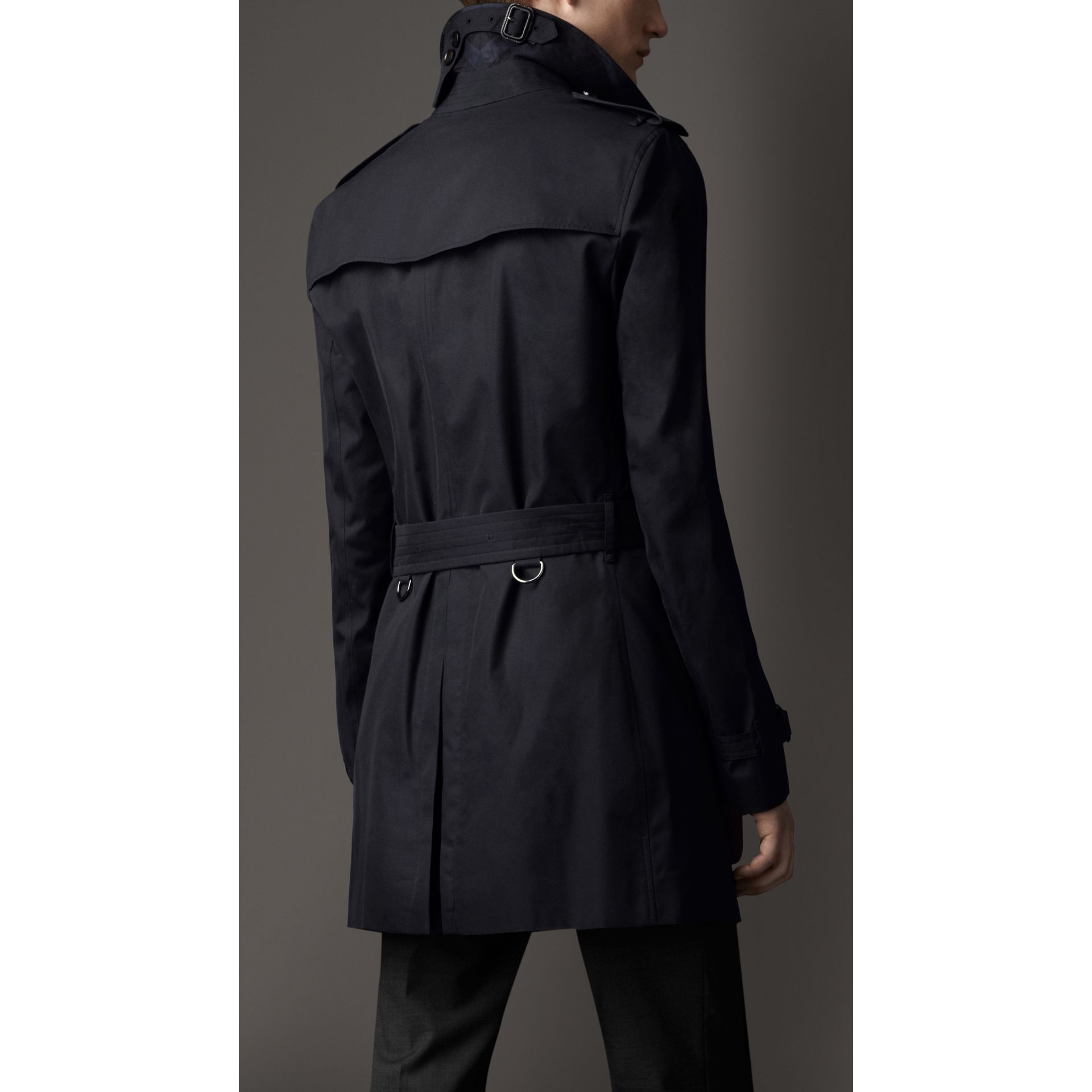 Cotton Gabardine Trench Coat in Navy - gallery image 2