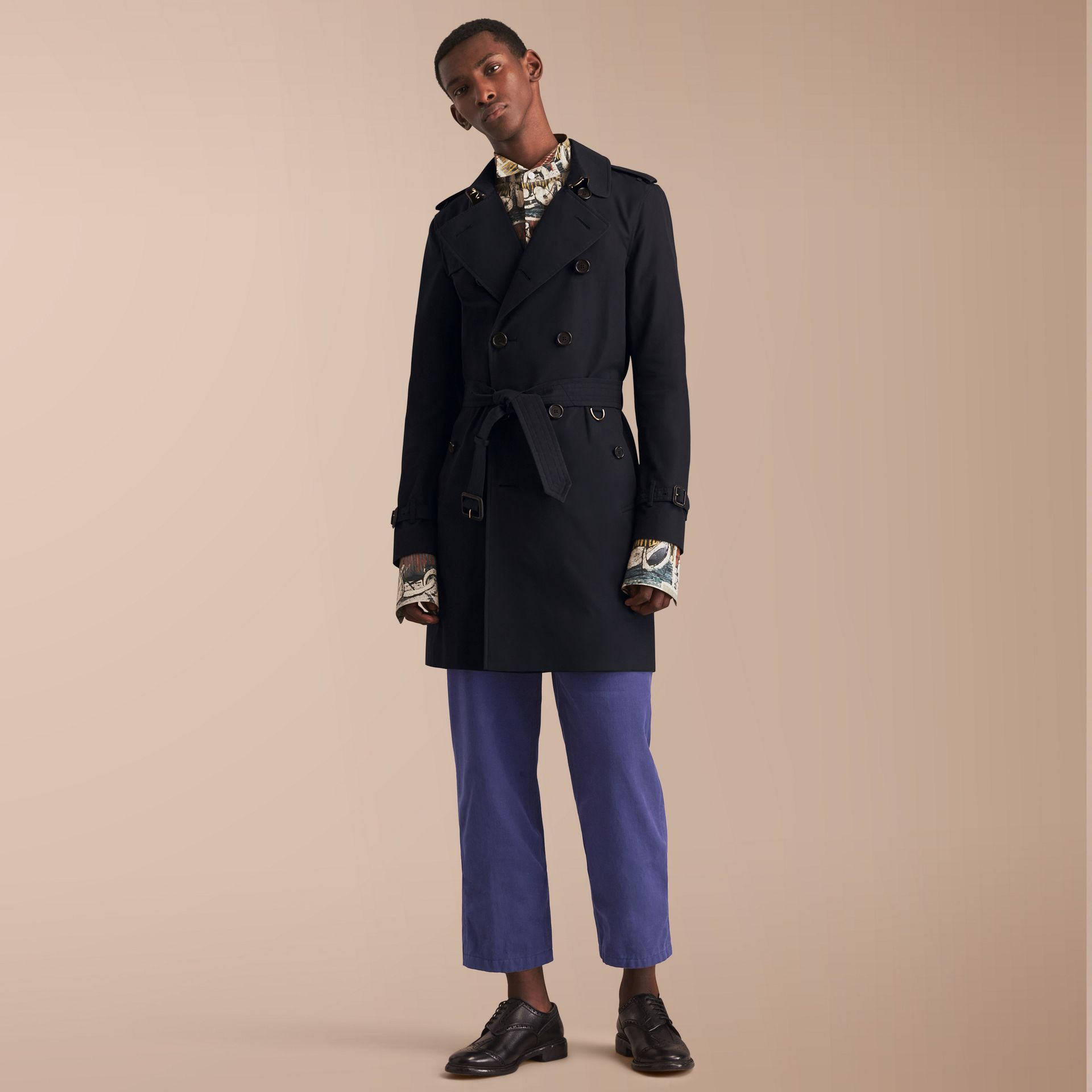 The Sandringham – Long Heritage Trench Coat in Navy - gallery image 8