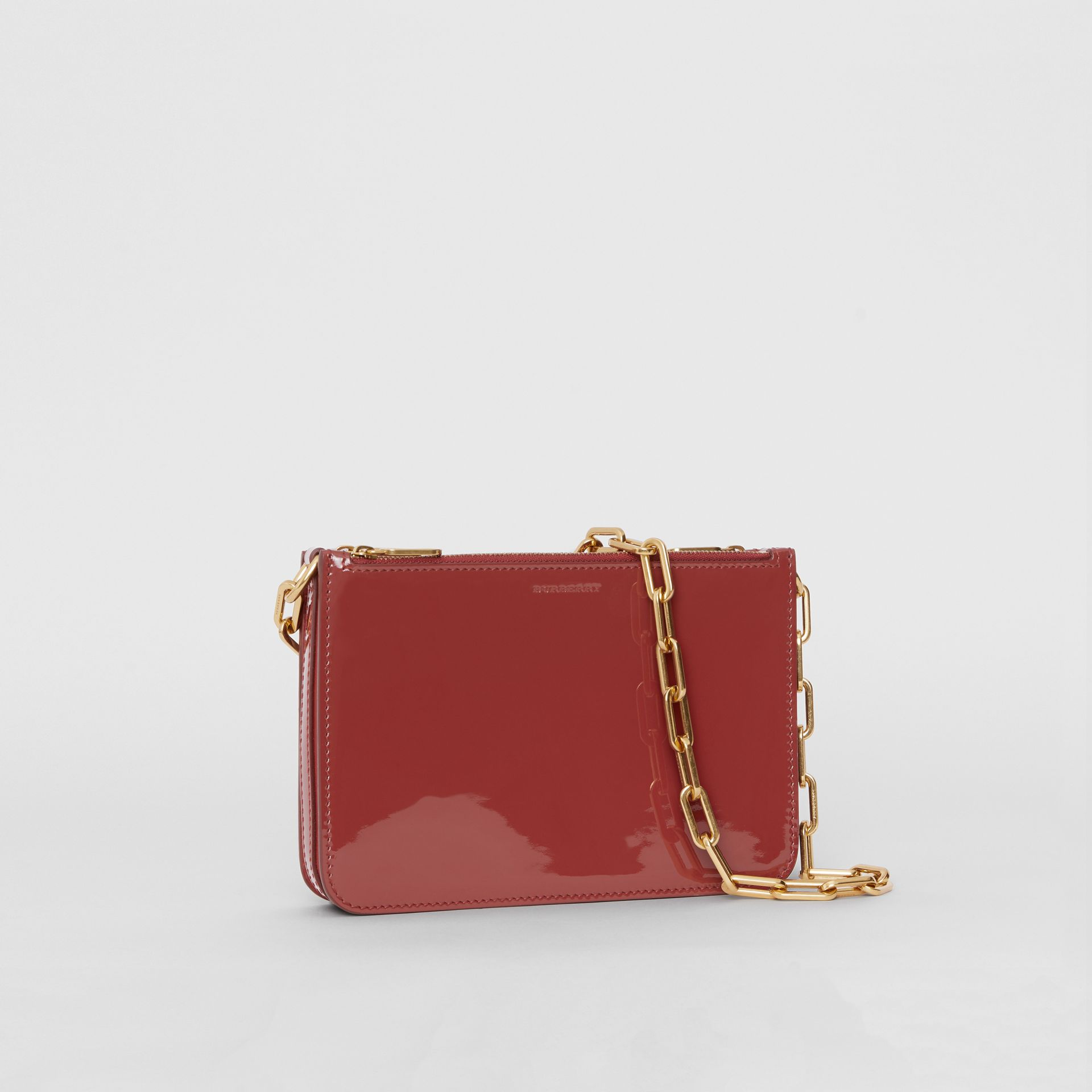 Triple Zip Patent Leather Crossbody Bag in Crimson - Women | Burberry - gallery image 6