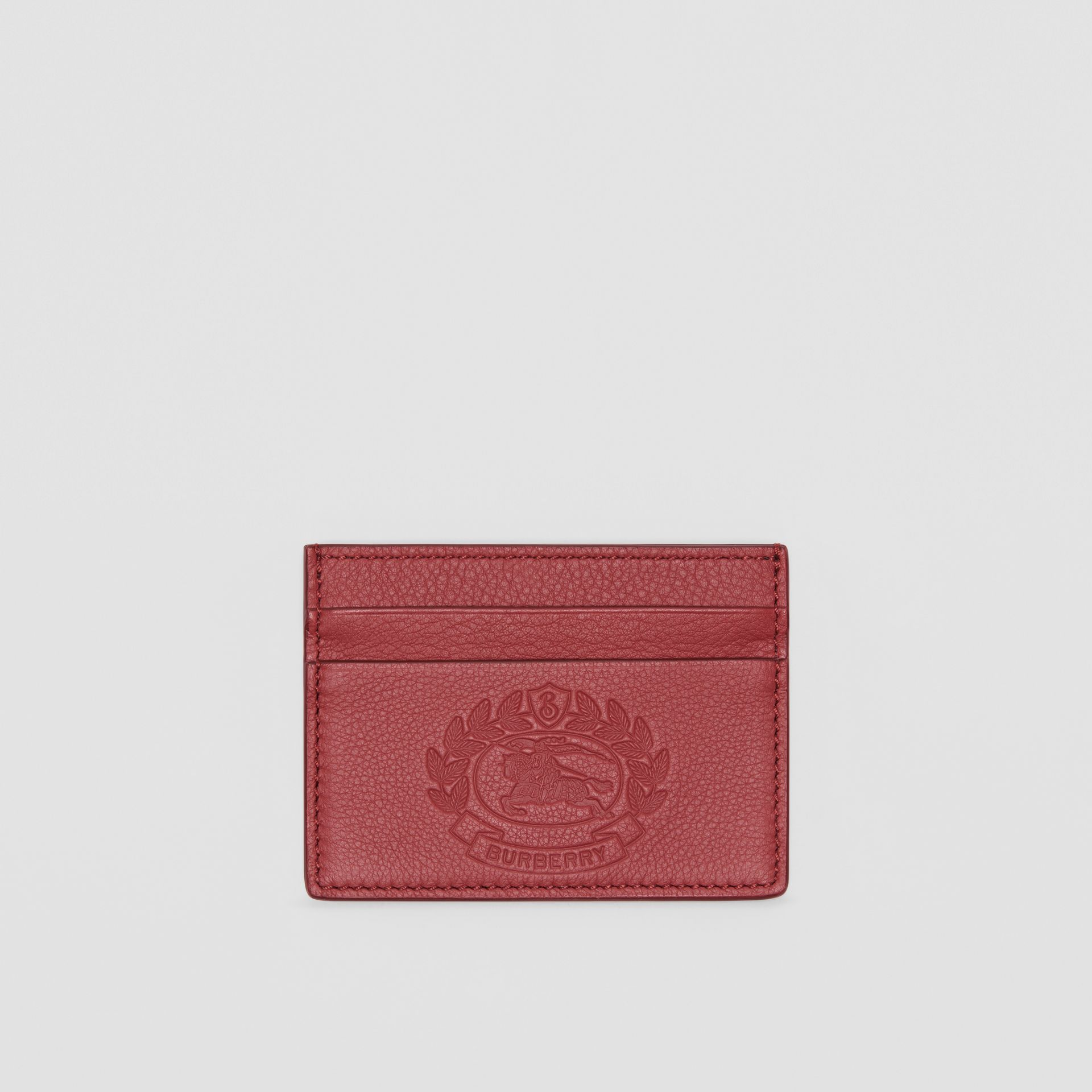 Embossed Crest Leather Card Case in Crimson | Burberry Australia - gallery image 0