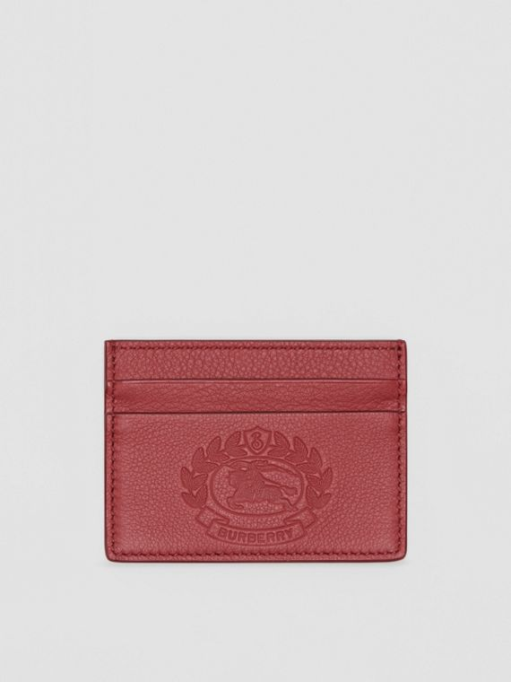 Embossed Crest Leather Card Case in Crimson