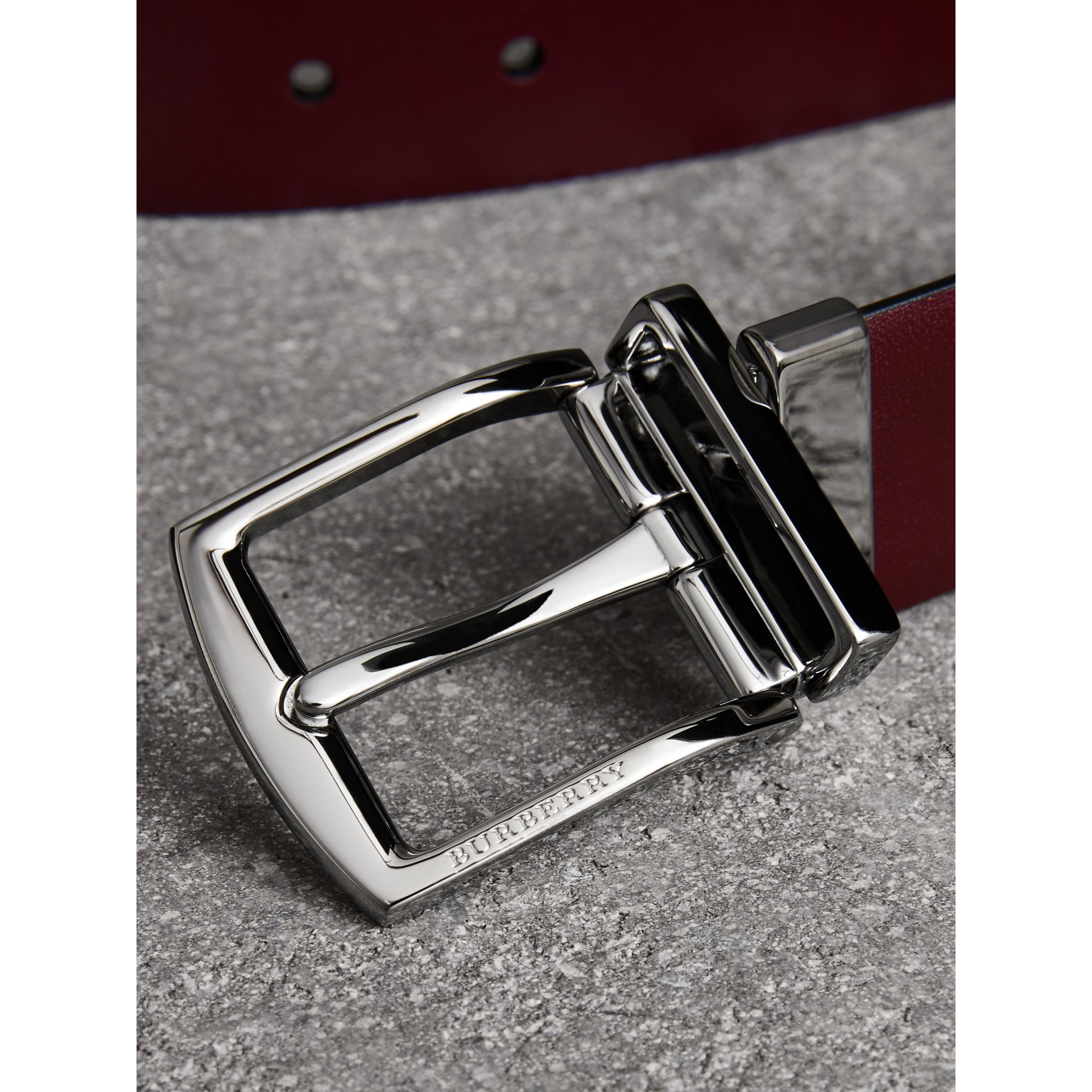 Reversible Leather Belt in Auburn - Men | Burberry - gallery image 1