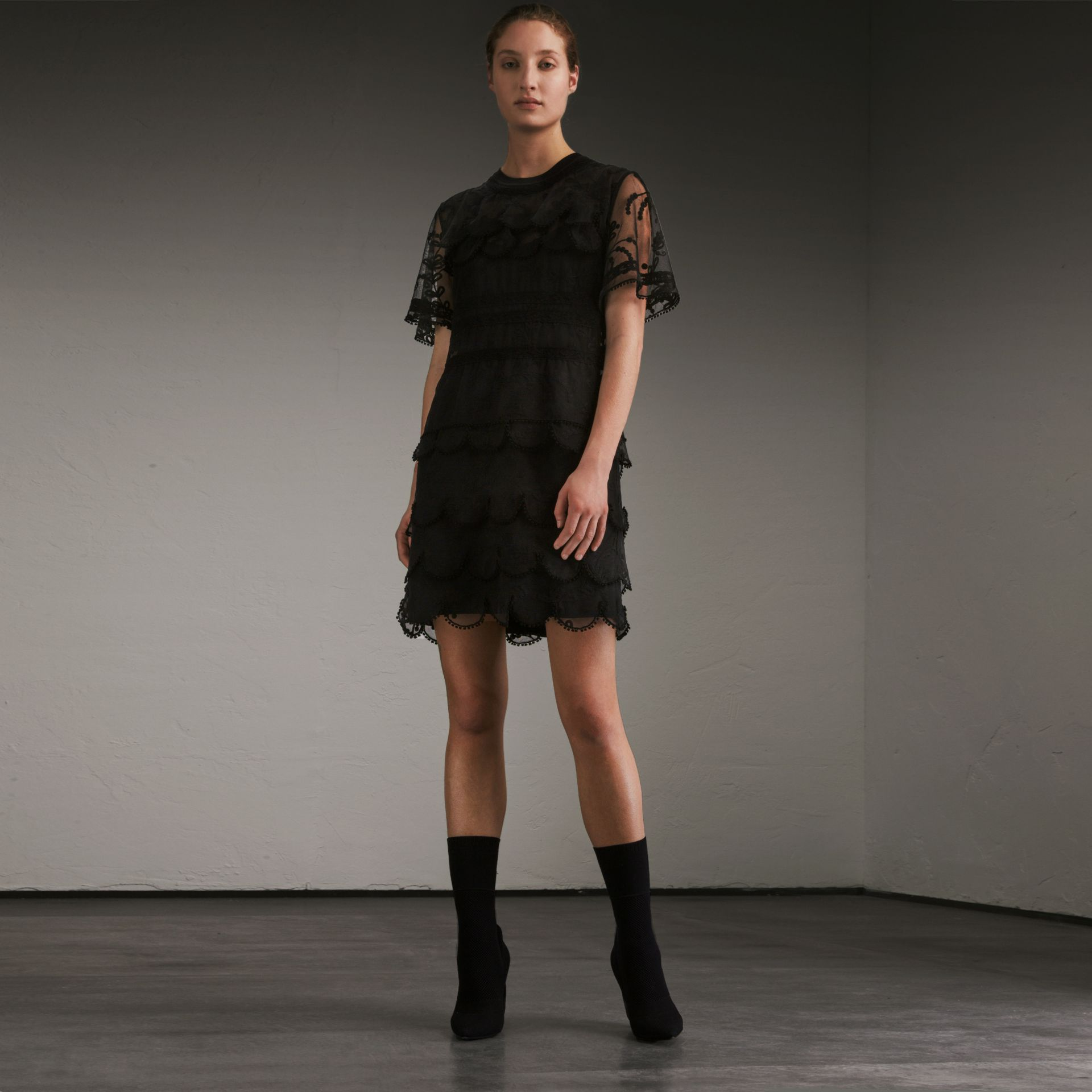 Short-sleeve Soutache Lace Tulle Dress in Black - Women | Burberry - gallery image 6