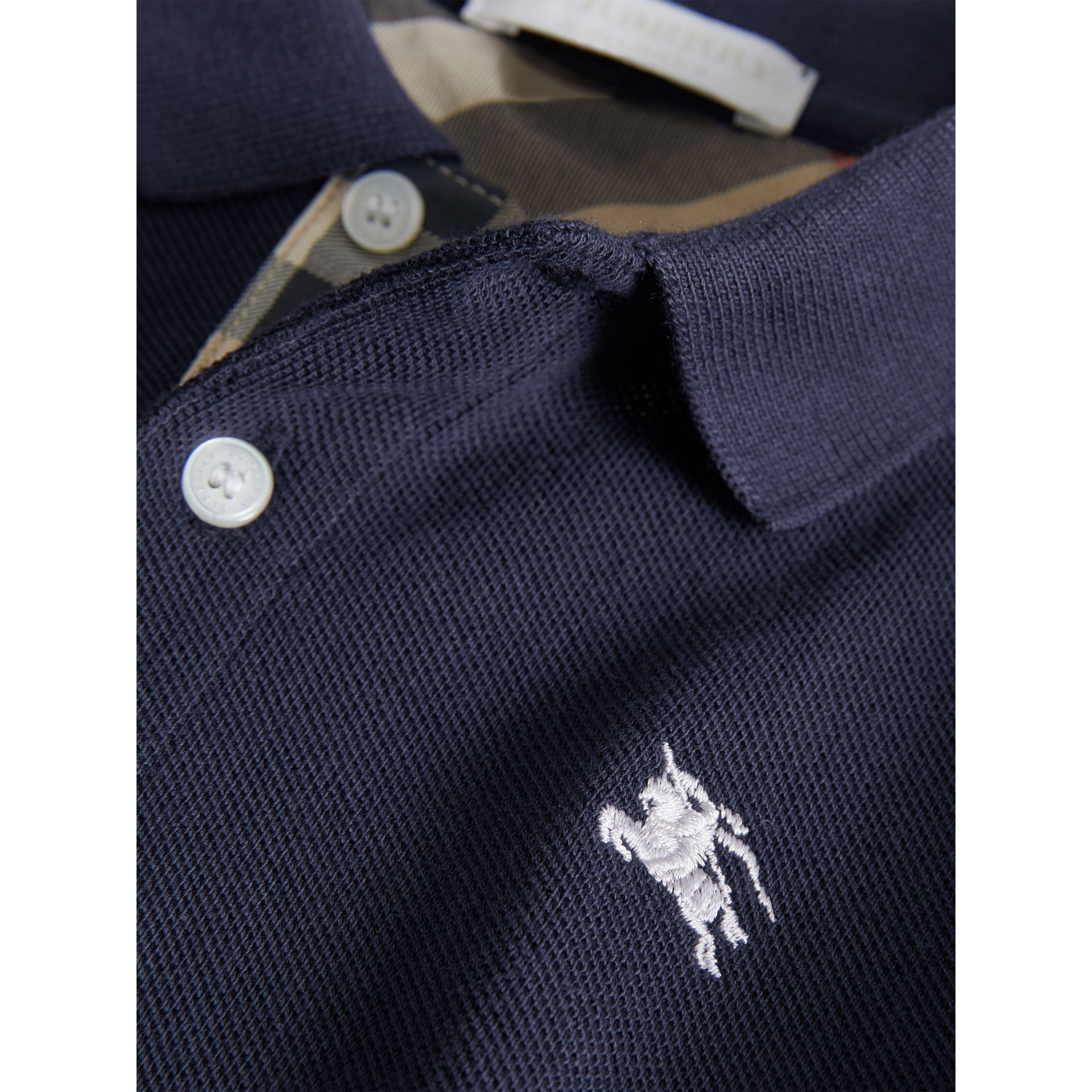 Check Placket Polo Shirt in True Navy - Boy | Burberry United Kingdom - gallery image 2