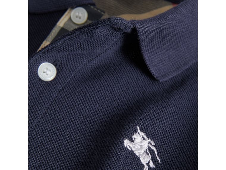 Check Placket Polo Shirt in True Navy - Boy | Burberry - cell image 1