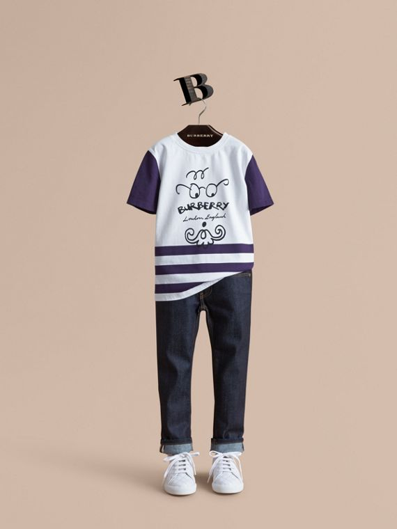 T-shirt in cotone a righe con stampa uomo con barba (Navy Intenso) | Burberry