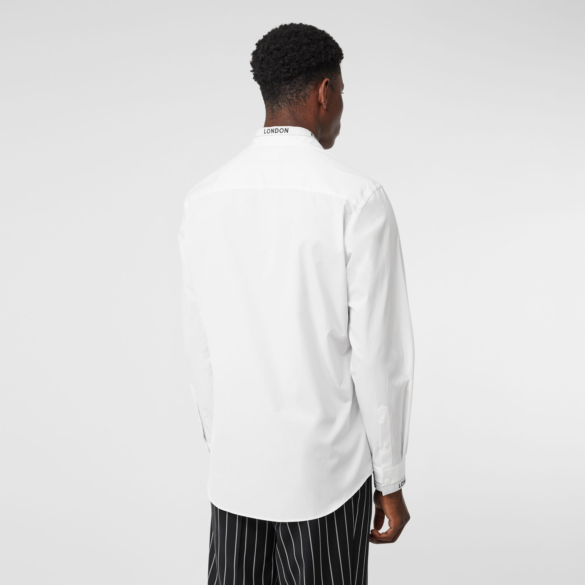 Logo Detail Cotton Poplin Shirt in White - Men | Burberry - gallery image 2