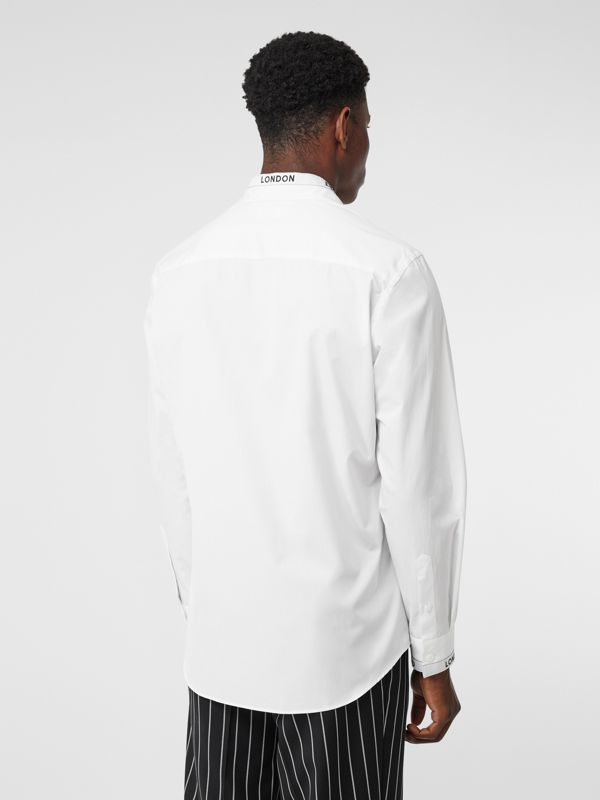 Logo Detail Cotton Poplin Shirt in White - Men | Burberry - cell image 2